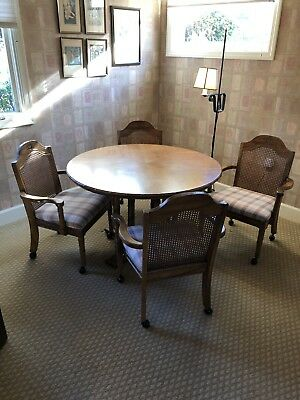 Faux Bamboo Mid Century Round Table + 4 Rolling Chairs