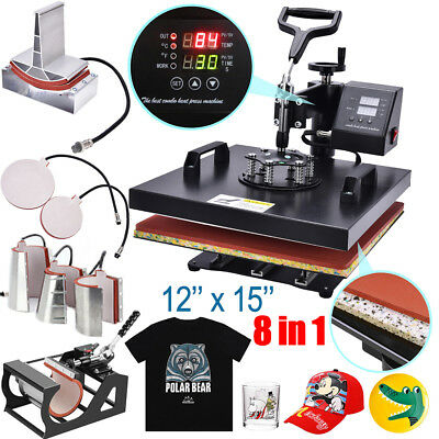 "8 in 1 Heat Press Machine For T-Shirt 12""x15"" Combo Kit Sublimation Swing Away"