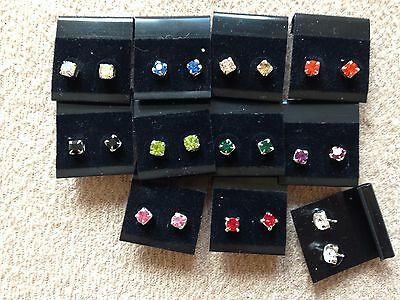JOBLOT-10 pairs of 0.5 cm colour -rhinestone diamante stud earring.UK handmade.