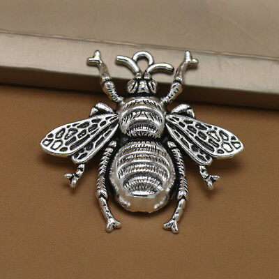 10pcs Antique Silver Bee Charms Honeybee Pendant Jewelry Making Findings#