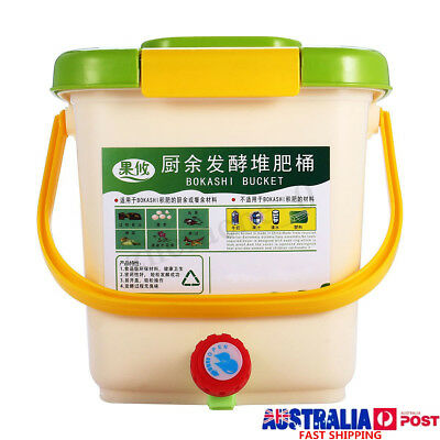 12L Recycle Composter Aerated Compost Bin Bokashi Bucket Kitchen Food Waste Box