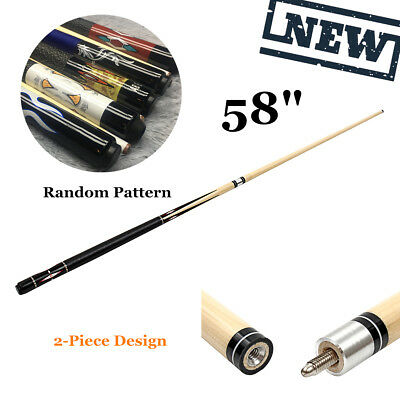 58'' 2-Piece Snooker Pool Cue Wooden Eco Jointed Stick Billiards Bar Sport Game
