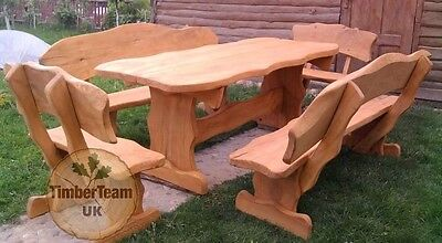 Rustic Wooden Garden Furniture Set Unique Handmade Table And Benches