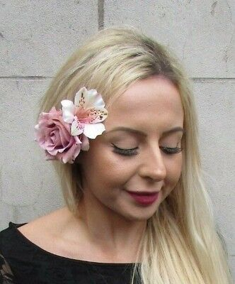 Double Blush Nude Light Dusky Pink Lily & Rose Flower Hair Clip Fascinator 6920