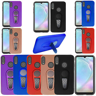 For Huawei P30 Lite - Armour Hard Heavy Duty Stand Car Munt Magnetic Case Cover
