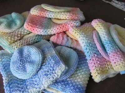 Small New Baby/reborn/doll Blankets/comforters And Hats Hand Knitted