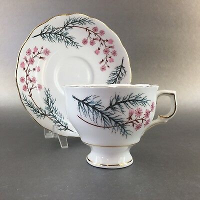 Colclough Pink Flower Tea Cup & Saucer English Bone China Gold Teacup England