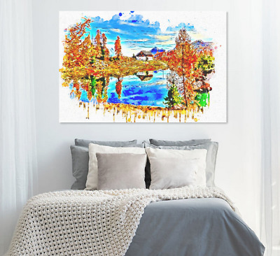 Beautiful Scenery Painting watercolor Print Home Decor Wall Art choose your size