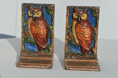 Antique Hubley #47 Hand Painted Child Size Cast Iron Owl Bird Sculpture Bookends