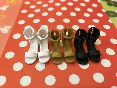 Doll Shoes - 3PAIRS Barbie Mattel Small flat feet Sandal shoes #S2056 NEW