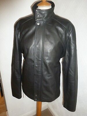 50e8eb7ce932 Bnwot New Mens Xl Reiss Black Cow Leather Gentry Cafe Racer Bomber Jacket  Coat