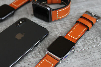 070699dcb2b Thick Orange Leather Watch Strap Band For Apple Watch Series 4 3 2 38 40