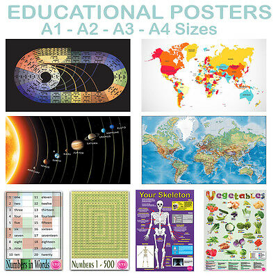 Learning Education Posters Maths Science learning School Various Sizes A4 - A1