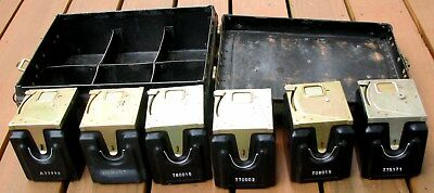 6 Vintage Pay Phone Coin Boxes with Original Carrying Case