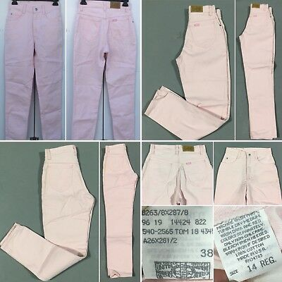 Vintage Lee Jeans High Waist Taperd Leg Pink Union Made USA 14 Reg Girls