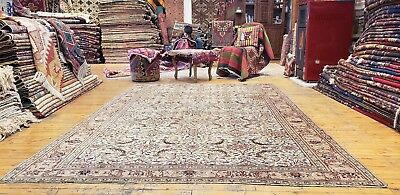 Beautiful Muted Natural Dyes Antique 1930-1940s Wool Pile Hereke Rug 7x10ft.