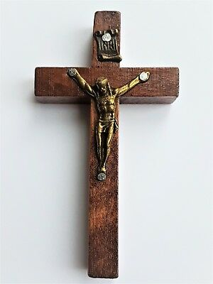 Cross Vintage Religious Catholic Christian Crusifix Jesus Wooden Matal Hanging