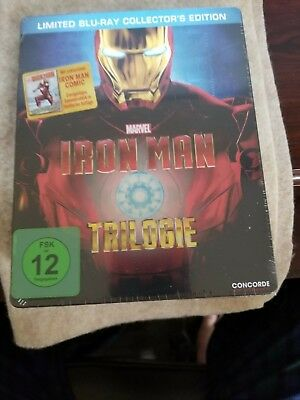 IRON MAN TRILOGY STEELBOOK [RARE/OOP/Blu-ray] Collector's Edition/Germany Import