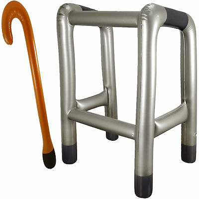 Inflatable BlowUp Zimmer Frame And Walking Stick Novelty Birthday Stag Joke Xmas