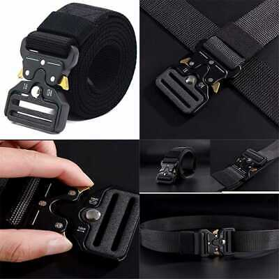 Tactical Belt For Men Buckle Heavy Duty Nylon Military Style Quick Release Black