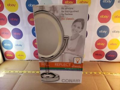 Conair Double-Sided Lighted Makeup Vanity Mirror 1x / 7x Magnification Oval 8.5""