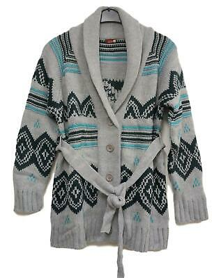 New Smart Cosy Long Maternity Chunky Knitted Jacket in Grey Multicolour Gr.40/
