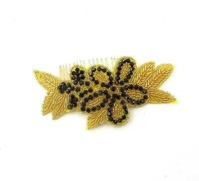 Black & Gold Beaded Flower Hair Comb 1920s Great Gatsby Flapper Fascinator 6956