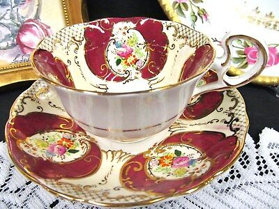 Radfords tea cup and saucer red and floral beaded teacup pattern footed 1930's
