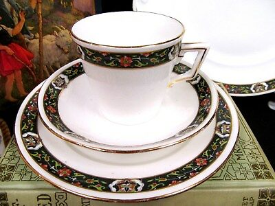 Shelley Tea Cup And Saucer Deco Floral Band Pattern 10718 Teacup Trio