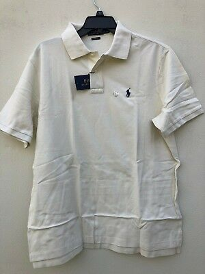 NWT Men Polo Ralph Lauren Mesh Polo Shirt SS CLASSIC FIT Chic Cream Size Large