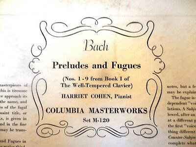 1928 Harriet COHEN FIRST Bach Well Tempered Clavier Prelude Fuge 1 - 9 PIANO 78