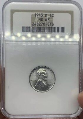 1943-D MS67 NGC Steel Lincoln Wheat Cent OH Wartime Steel Penny Old Holder