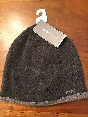 be659f3ad19 MICHAEL KORS MENS Hat Knit Beanie Gray Logo Cap Reversible New Tags ...
