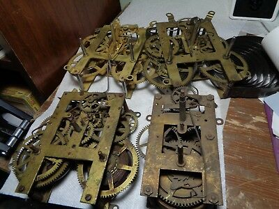 Lot of 4-Antique-American Clock Movements/Parts-Ca.1900-All 8 Day-#T113