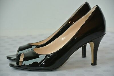 50c234b6203 Cole Haan Womens Sz 5.5 M Black Patent Leather Open Toe Classic Heels NICE!