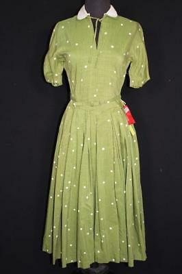Rare Vintage Deadstock Never Worn 1950's Green Textured Rayon Dress Size 6+