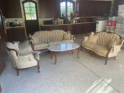 4 piece Rococo Classic Italian couch armchair Loveseat marble coffee table set