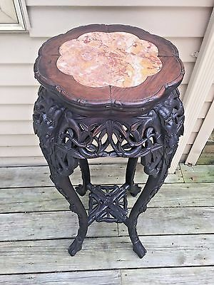 Antique Chinese Carved Rose Wood Fern Stand with Marble Top