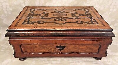 Continental Style Inlaid Mixed Wood Jewelry Box with Removable Tray