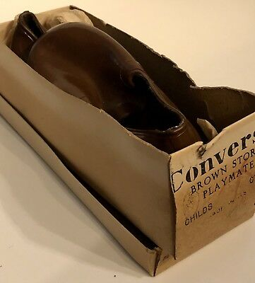 CONVERSE Kids 8 1/2 Vintage Solid Brown Storm Playmate Rubber Overshoes 20th C
