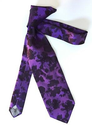 Vintage Tie MOSCHINO Luxury Brand 100% Silk Made In Italy Authentic Purple Black