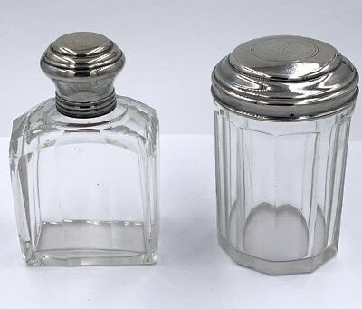 2 Antique French Glass Vanity Jar & Bottle with Sterling silver tops Rare set