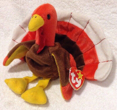 edaa8307628 TY Beanie Baby Gobbles the Turkey Stuffed Animal Plush 1996 w  Tags  Thanksgiving