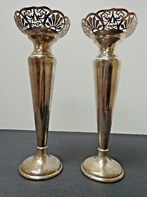 Antique Walker & Hall Pair of Sheffield Sterling Silver Candlesticks