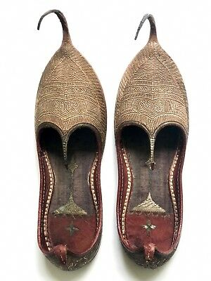 Antique Turkish Shoes Vintage Leather Slippers Embroidered Metallic Gold Thread