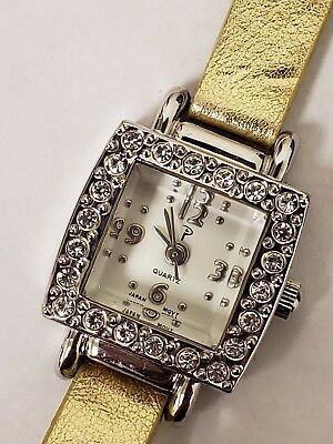 Art Deco Vintage Look Rhinestone Accent Square Face Gold Lame' Band Ladies Watch