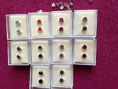 JOBLOT -10 pairs of 0.6cm gift boxed mix colours  diamante  stud earrings.