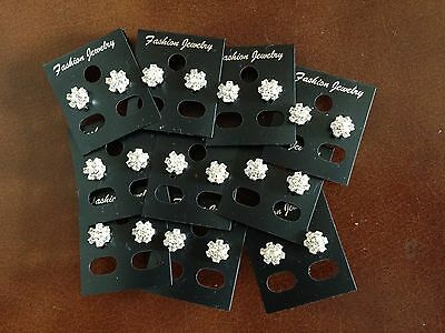 JOBLOT-10 pairs of crystal diamante rosette stud earrings.Silver plated.UK made.