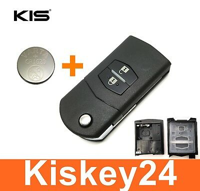 2Tasten Spare Flip Key for Mazda 3 5 6 BT50 CX-5 CX-7 CX-9 RX8+Battery