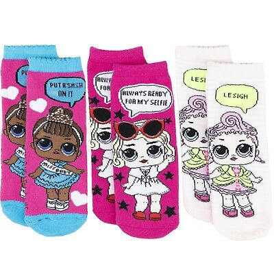 LOL Surprise! lol Characters Girls Kids Crew Socks 3-PACK Pairs Set Anti-Slip